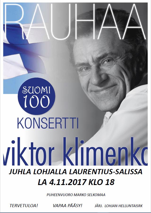 Suomi 100 vuotta-juhla, Laurentius-sali la 4.11. klo 18.00 Marko Selkomaa, Viktor Klimenko